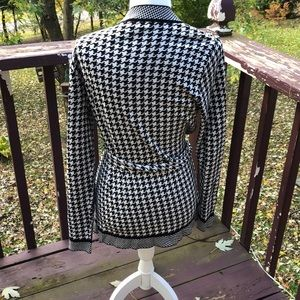 Charter Club Sweaters - Charter Club Houndstooth Cardigan With Tie Waist